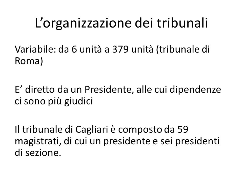 L'organizzazione dei tribunali