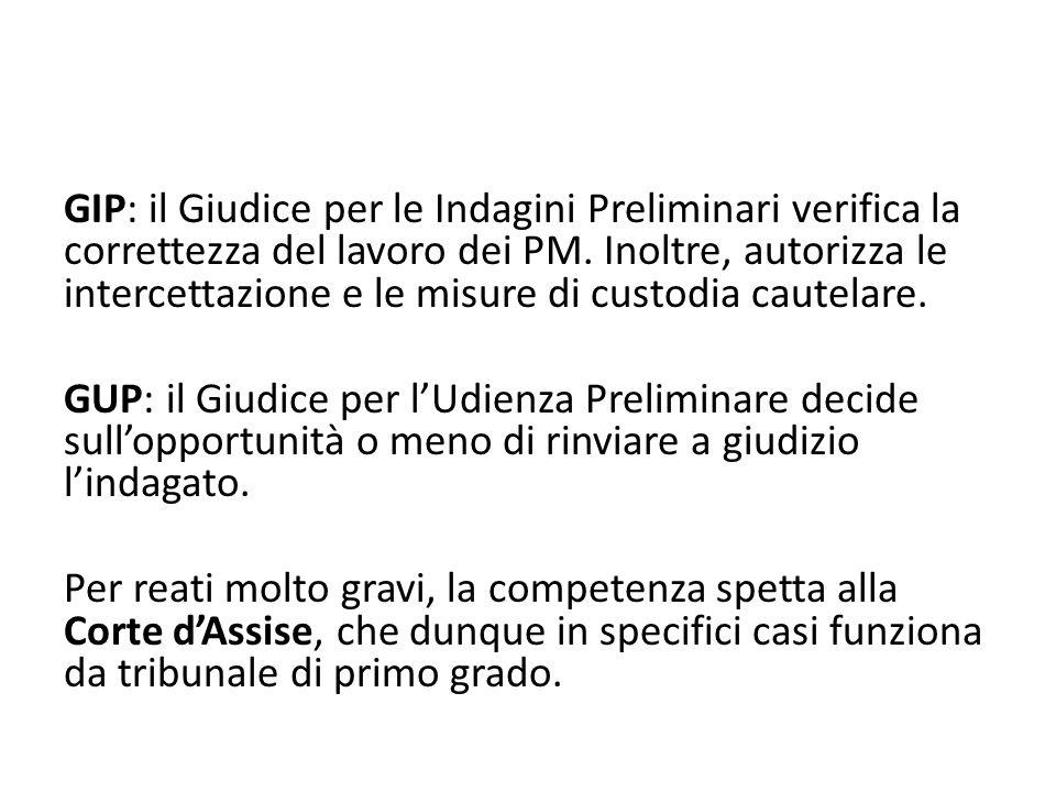 GIP: il Giudice per le Indagini Preliminari verifica la correttezza del lavoro dei PM.