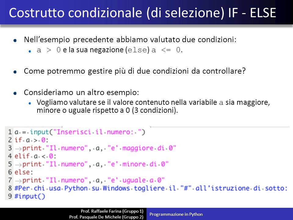 Costrutto condizionale (di selezione) IF - ELSE