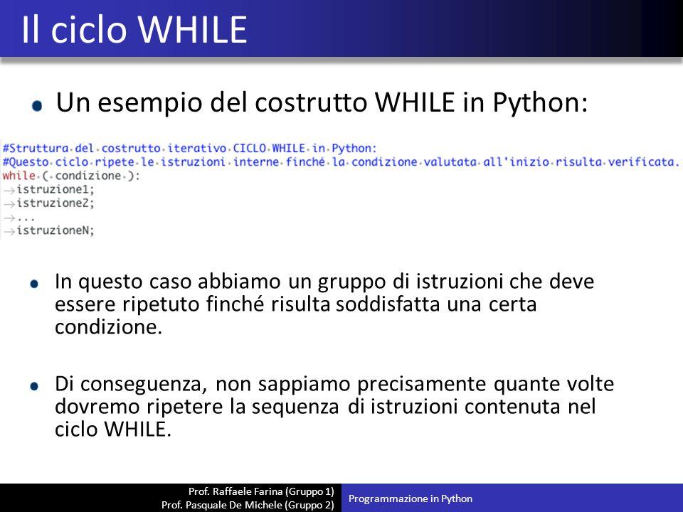 Il ciclo WHILE Un esempio del costrutto WHILE in Python: