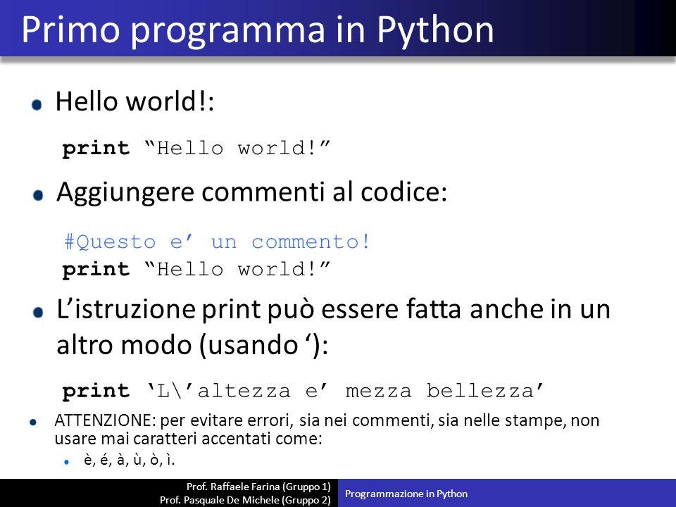 Primo programma in Python