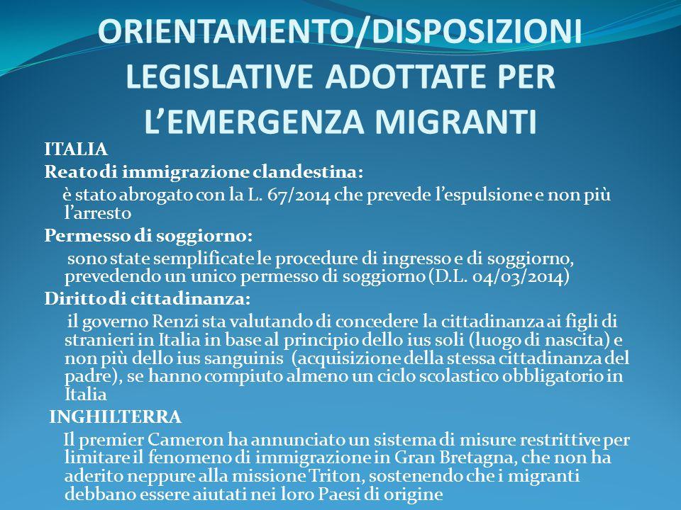ORIENTAMENTO/DISPOSIZIONI LEGISLATIVE ADOTTATE PER L'EMERGENZA MIGRANTI