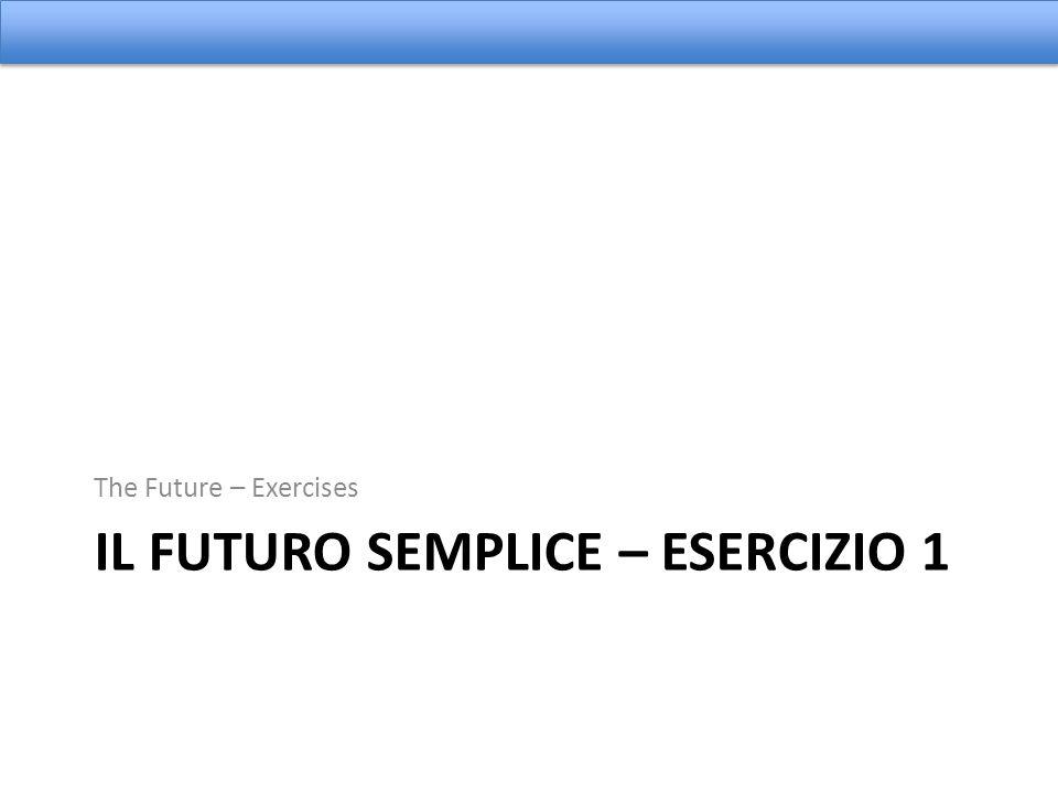 Il Futuro Semplice – Esercizio 1
