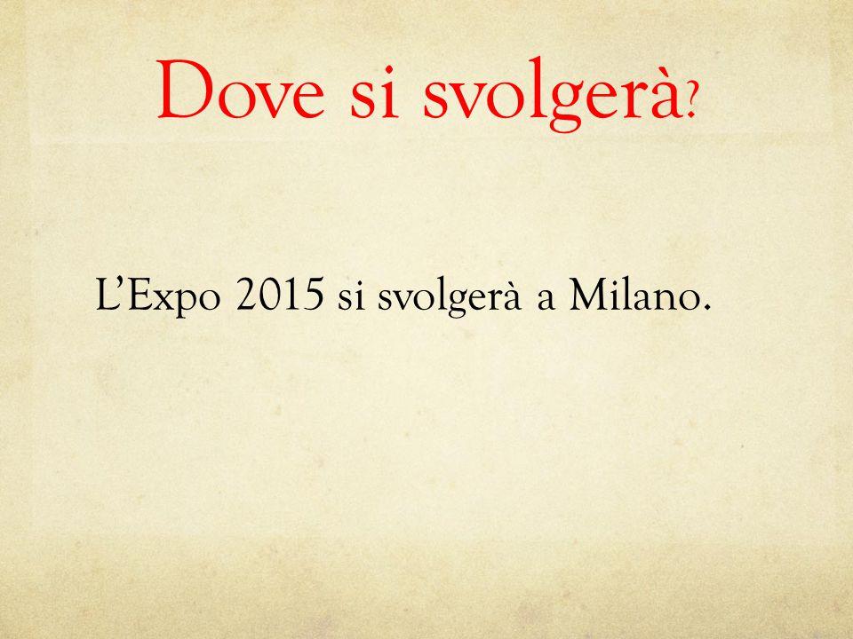Dove si svolgerà L'Expo 2015 si svolgerà a Milano.