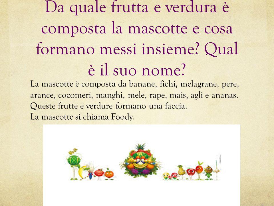 Da quale frutta e verdura è composta la mascotte e cosa formano messi insieme Qual è il suo nome