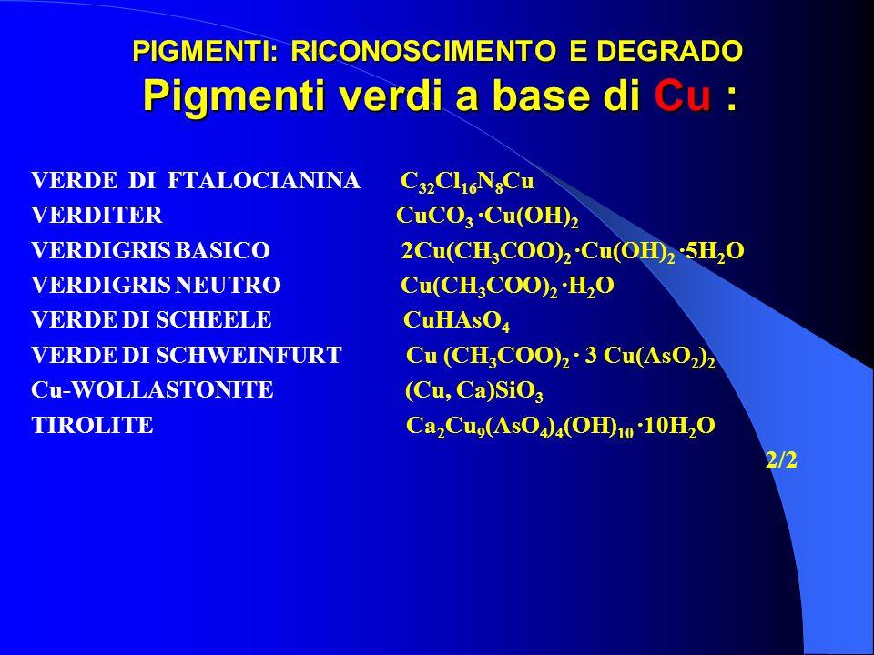 PIGMENTI: RICONOSCIMENTO E DEGRADO Pigmenti verdi a base di Cu :