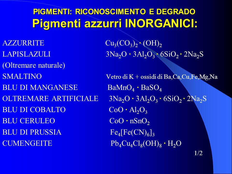 PIGMENTI: RICONOSCIMENTO E DEGRADO Pigmenti azzurri INORGANICI: