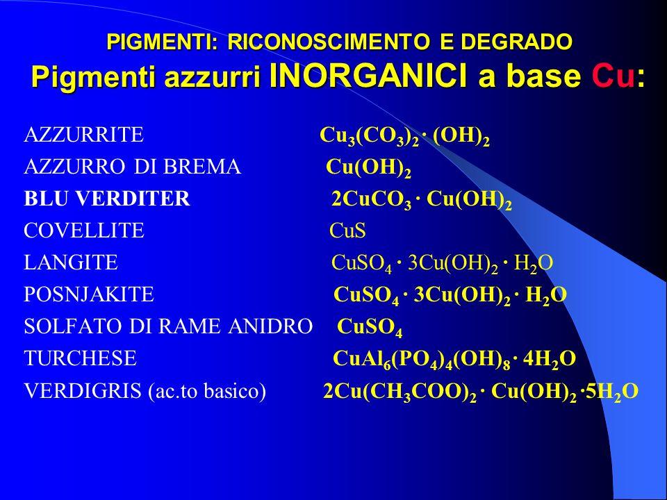PIGMENTI: RICONOSCIMENTO E DEGRADO Pigmenti azzurri INORGANICI a base Cu: