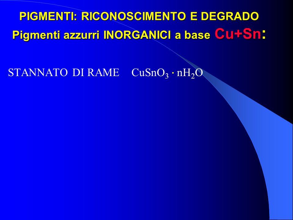 PIGMENTI: RICONOSCIMENTO E DEGRADO Pigmenti azzurri INORGANICI a base Cu+Sn:
