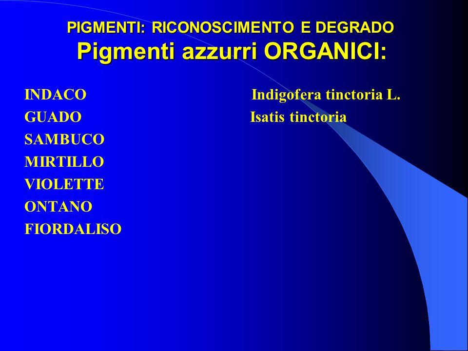 PIGMENTI: RICONOSCIMENTO E DEGRADO Pigmenti azzurri ORGANICI: