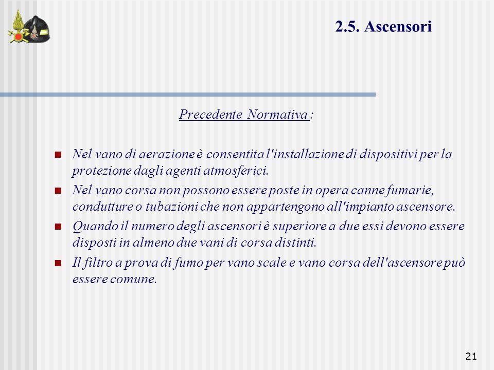 2.5. Ascensori Precedente Normativa :