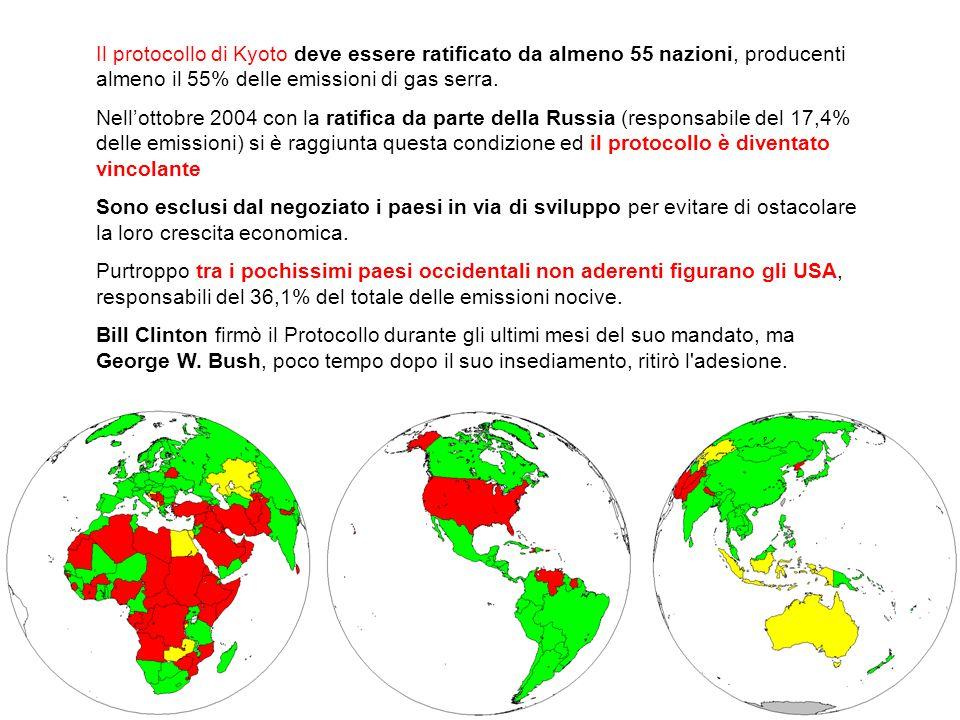 Il protocollo di Kyoto deve essere ratificato da almeno 55 nazioni, producenti almeno il 55% delle emissioni di gas serra.