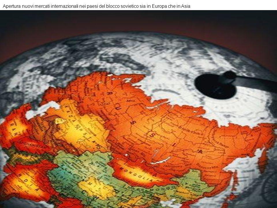 Apertura nuovi mercati internazionali nei paesi del blocco sovietico sia in Europa che in Asia