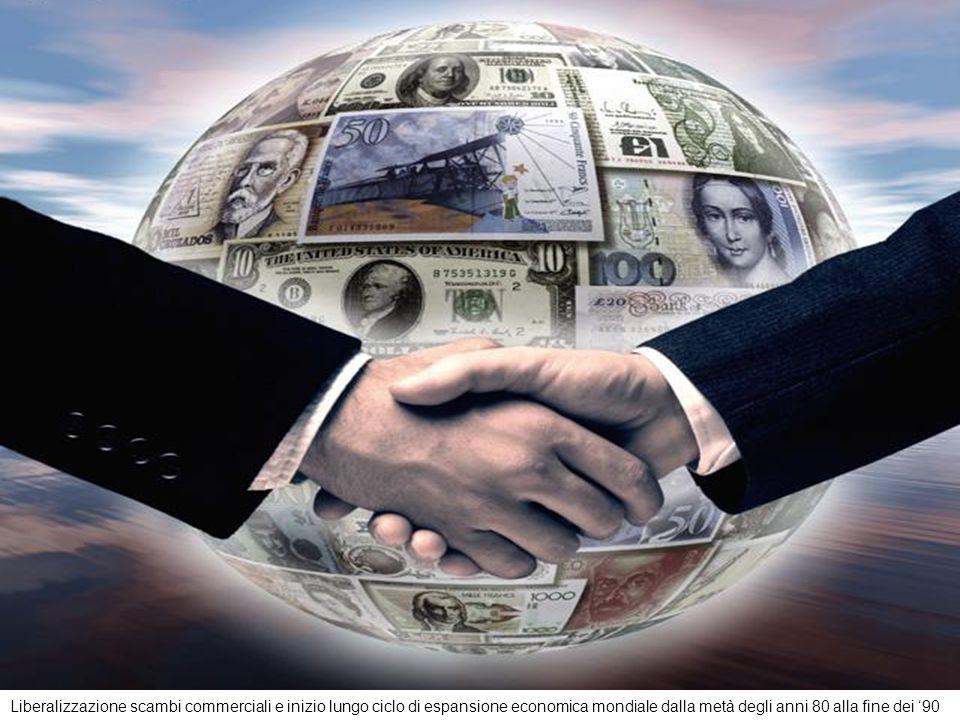 Liberalizzazione scambi commerciali e inizio lungo ciclo di espansione economica mondiale dalla metà degli anni 80 alla fine dei '90