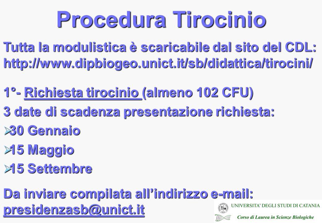 Procedura Tirocinio Tutta la modulistica è scaricabile dal sito del CDL: http://www.dipbiogeo.unict.it/sb/didattica/tirocini/