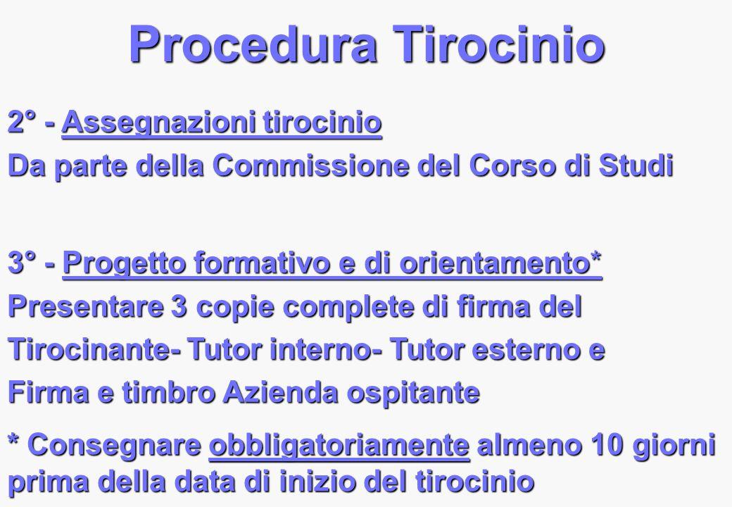 Procedura Tirocinio 2° - Assegnazioni tirocinio