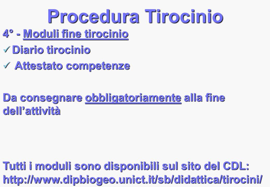 Procedura Tirocinio 4° - Moduli fine tirocinio Diario tirocinio