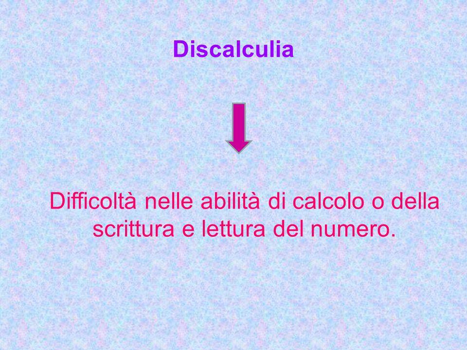 Discalculia Difficoltà nelle abilità di calcolo o della scrittura e lettura del numero.