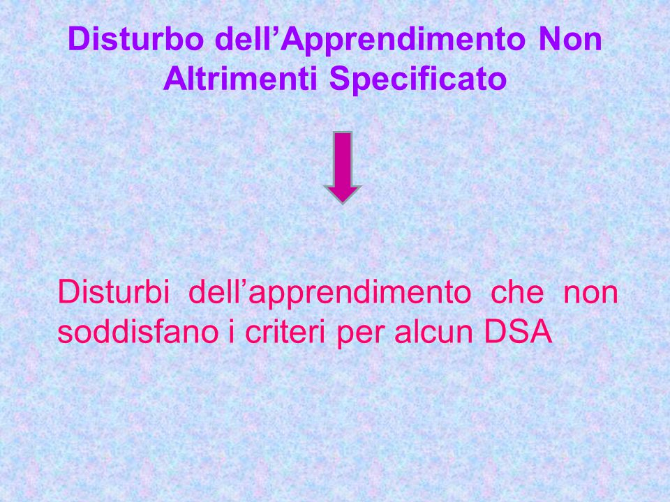 Disturbo dell'Apprendimento Non Altrimenti Specificato