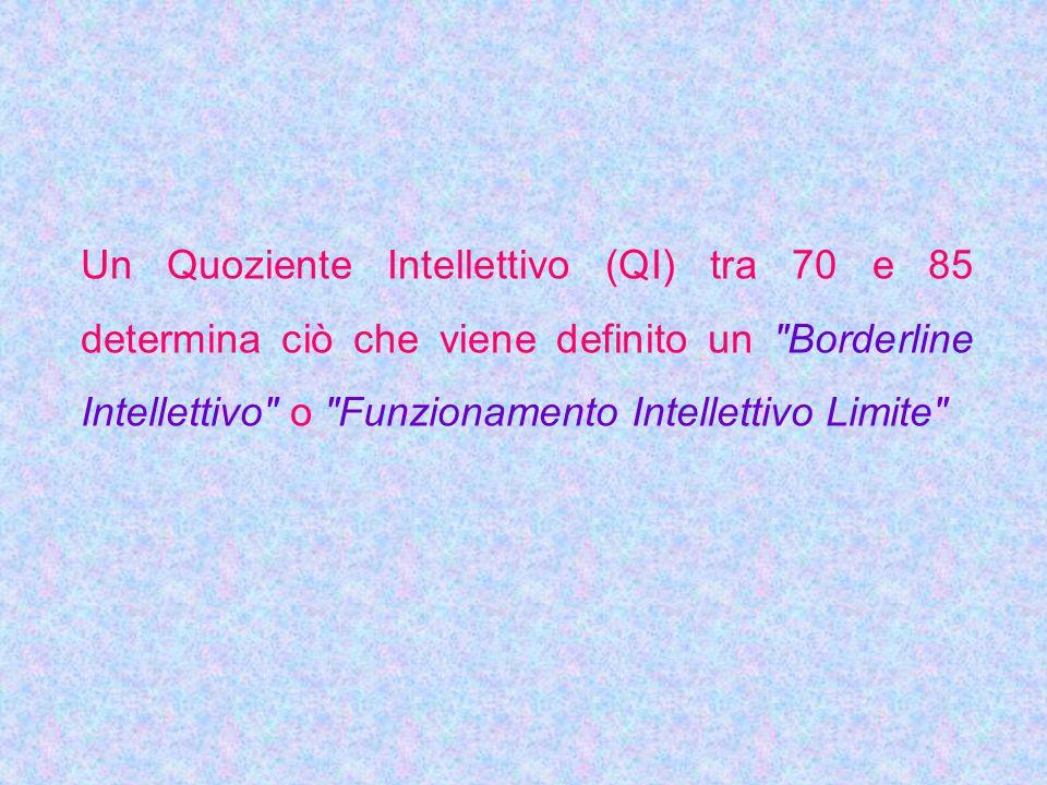 Un Quoziente Intellettivo (QI) tra 70 e 85 determina ciò che viene definito un Borderline Intellettivo o Funzionamento Intellettivo Limite