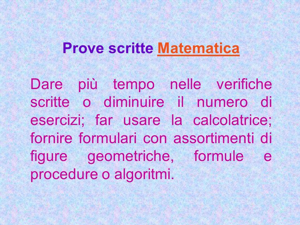 Prove scritte Matematica