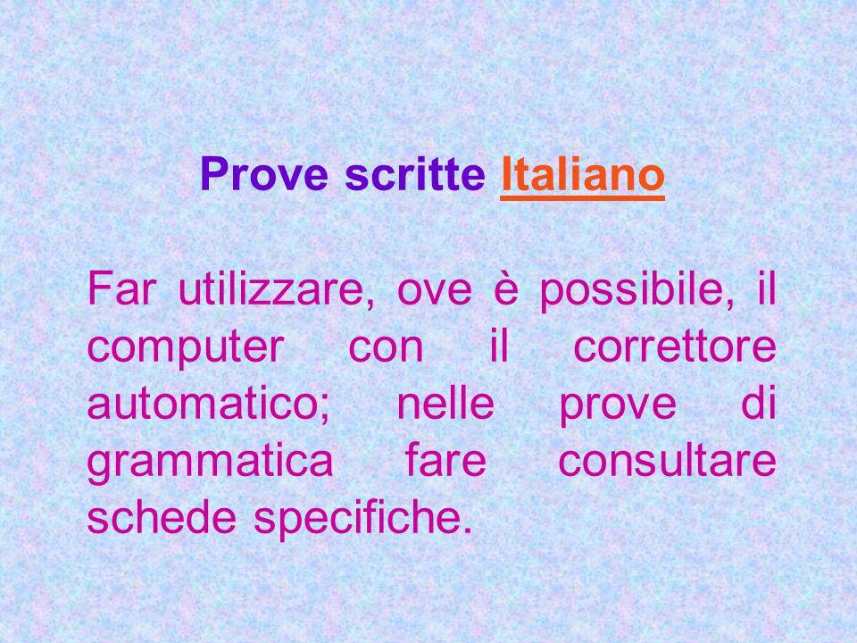 Prove scritte Italiano
