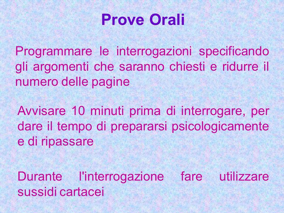 Prove Orali Programmare le interrogazioni specificando gli argomenti che saranno chiesti e ridurre il numero delle pagine.