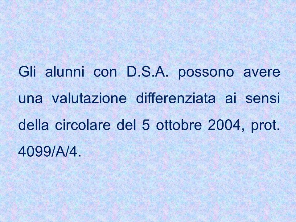 Gli alunni con D.S.A.