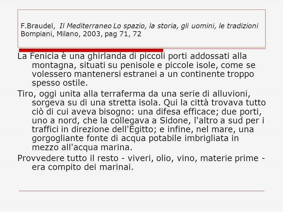 F.Braudel, Il Mediterraneo Lo spazio, la storia, gli uomini, le tradizioni Bompiani, Milano, 2003, pag 71, 72