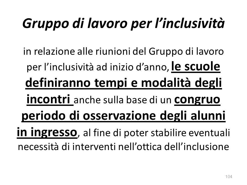 Gruppo di lavoro per l'inclusività