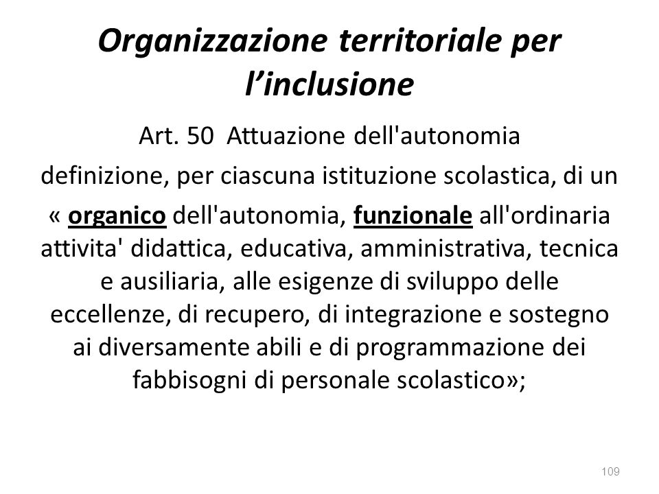 Organizzazione territoriale per l'inclusione