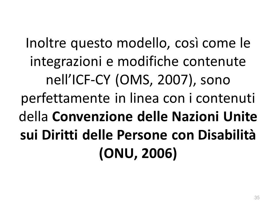 Inoltre questo modello, così come le integrazioni e modifiche contenute nell'ICF-CY (OMS, 2007), sono perfettamente in linea con i contenuti della Convenzione delle Nazioni Unite sui Diritti delle Persone con Disabilità (ONU, 2006)