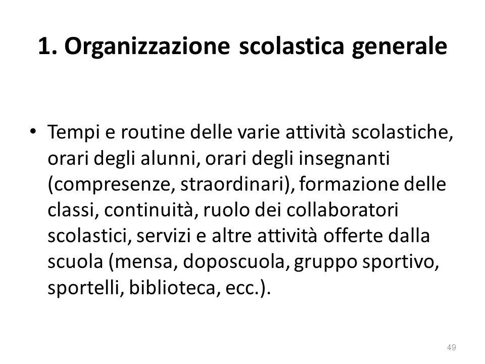 1. Organizzazione scolastica generale