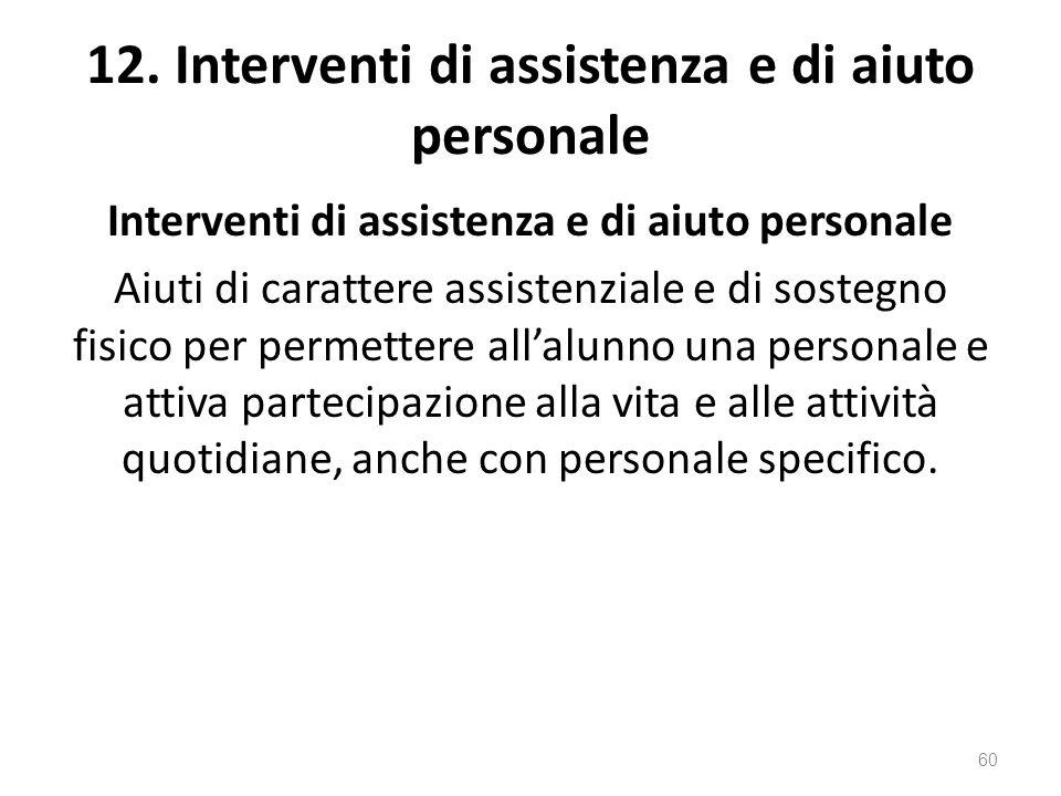 12. Interventi di assistenza e di aiuto personale