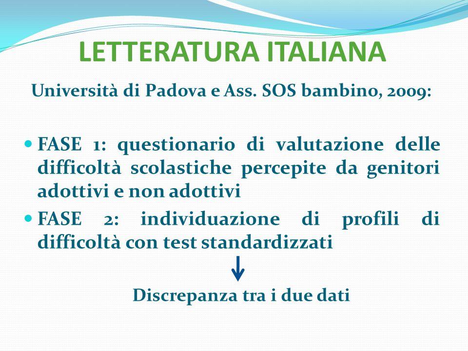 LETTERATURA ITALIANA Università di Padova e Ass. SOS bambino, 2009:
