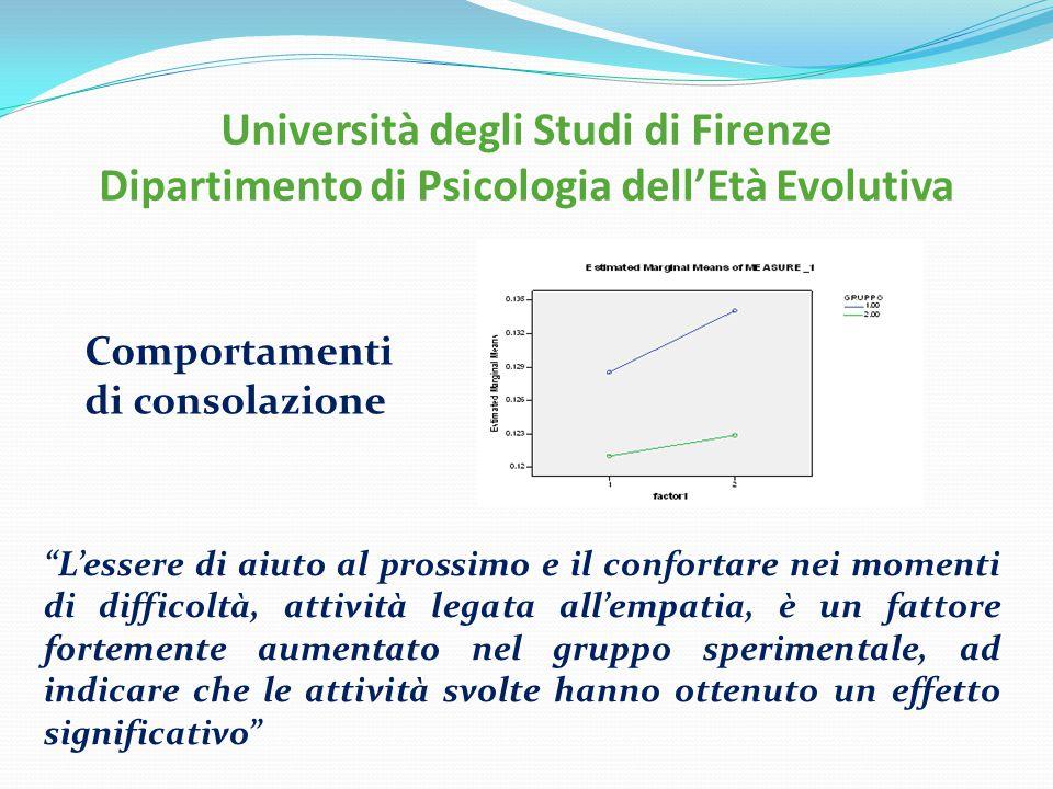 Università degli Studi di Firenze Dipartimento di Psicologia dell'Età Evolutiva