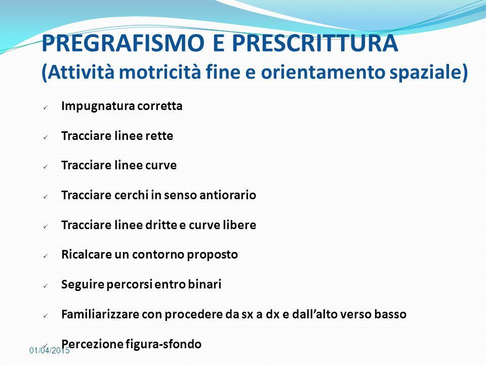 PREGRAFISMO E PRESCRITTURA (Attività motricità fine e orientamento spaziale)