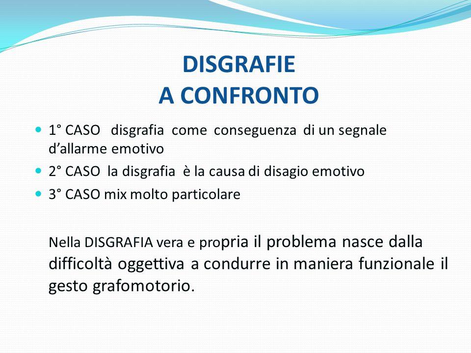 DISGRAFIE A CONFRONTO 1° CASO disgrafia come conseguenza di un segnale d'allarme emotivo. 2° CASO la disgrafia è la causa di disagio emotivo.