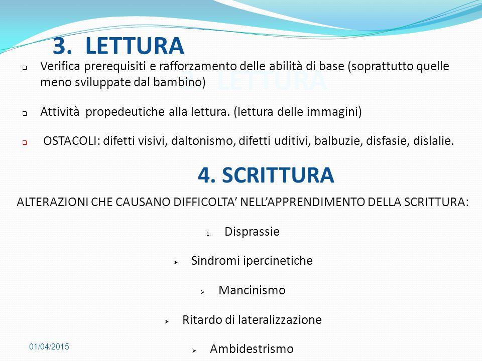 3. LETTURA 3. LETTURA 4. SCRITTURA