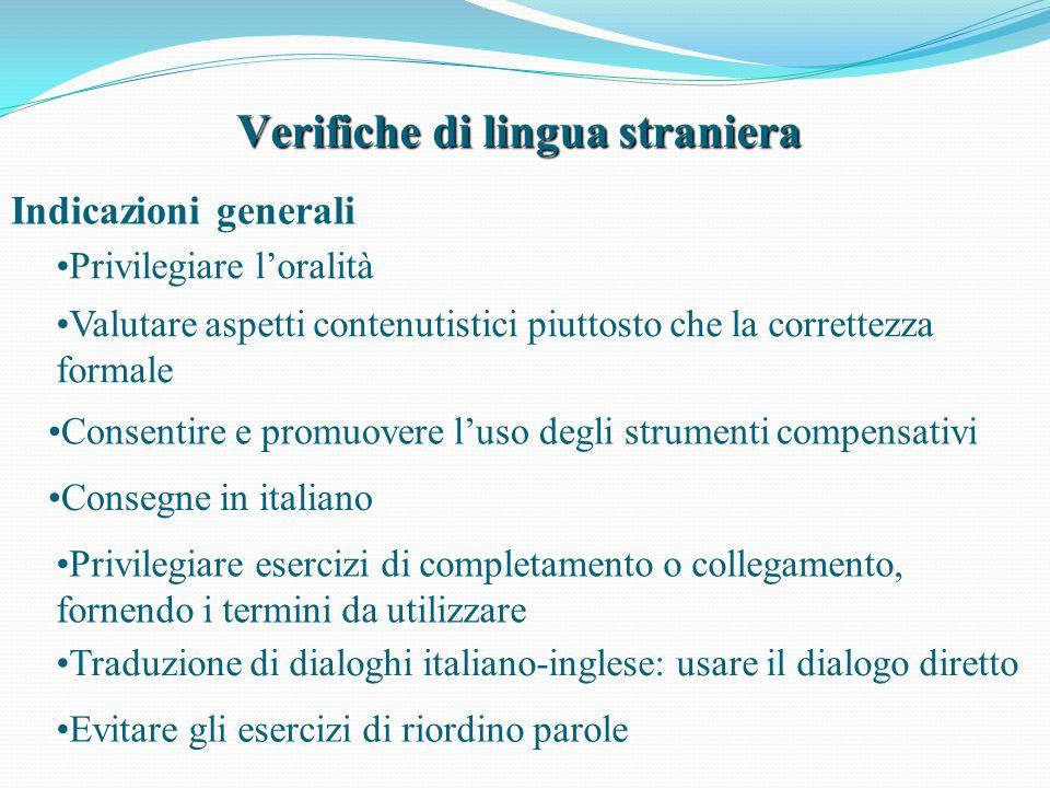 Verifiche di lingua straniera