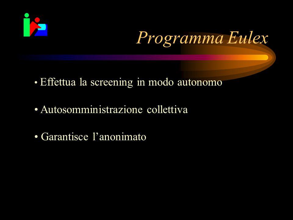 Programma Eulex Autosomministrazione collettiva Garantisce l'anonimato