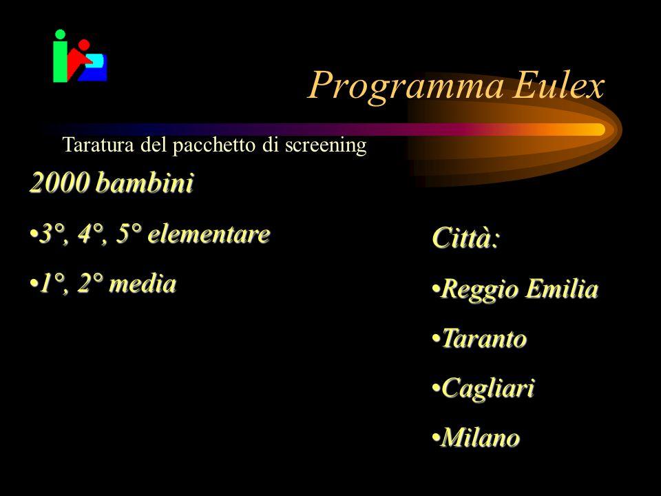 Programma Eulex 2000 bambini Città: 3°, 4°, 5° elementare 1°, 2° media