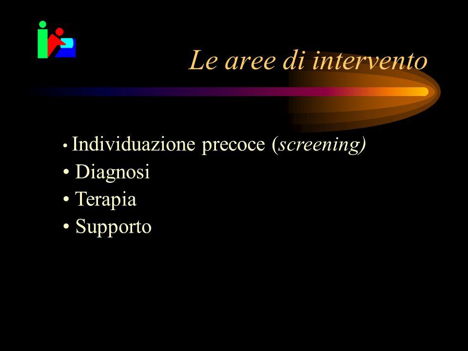 Le aree di intervento Diagnosi Terapia Supporto
