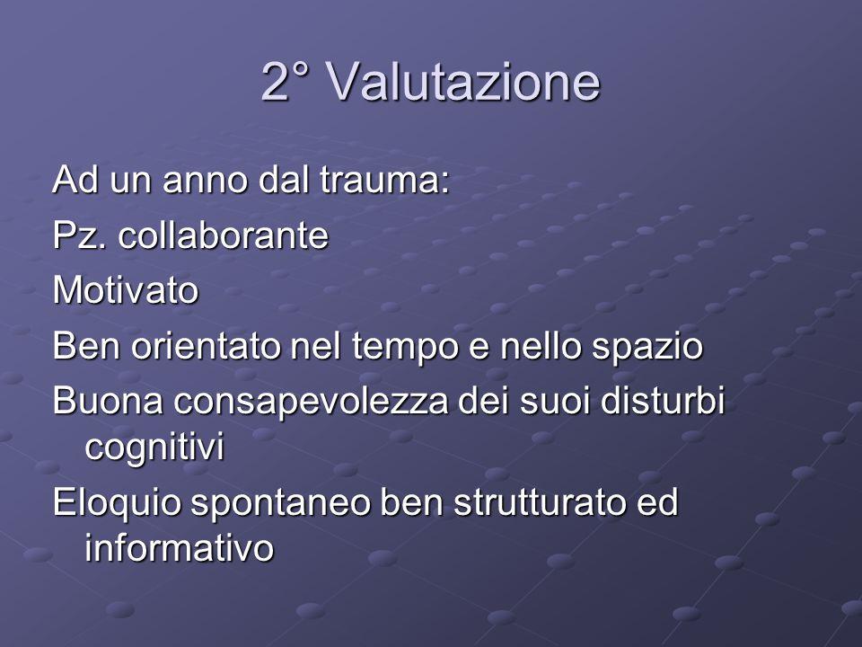 2° Valutazione Ad un anno dal trauma: Pz. collaborante Motivato