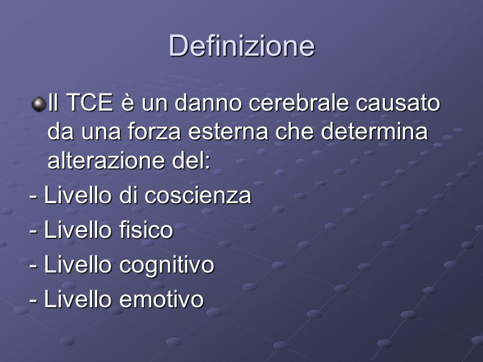 Definizione Il TCE è un danno cerebrale causato da una forza esterna che determina alterazione del: