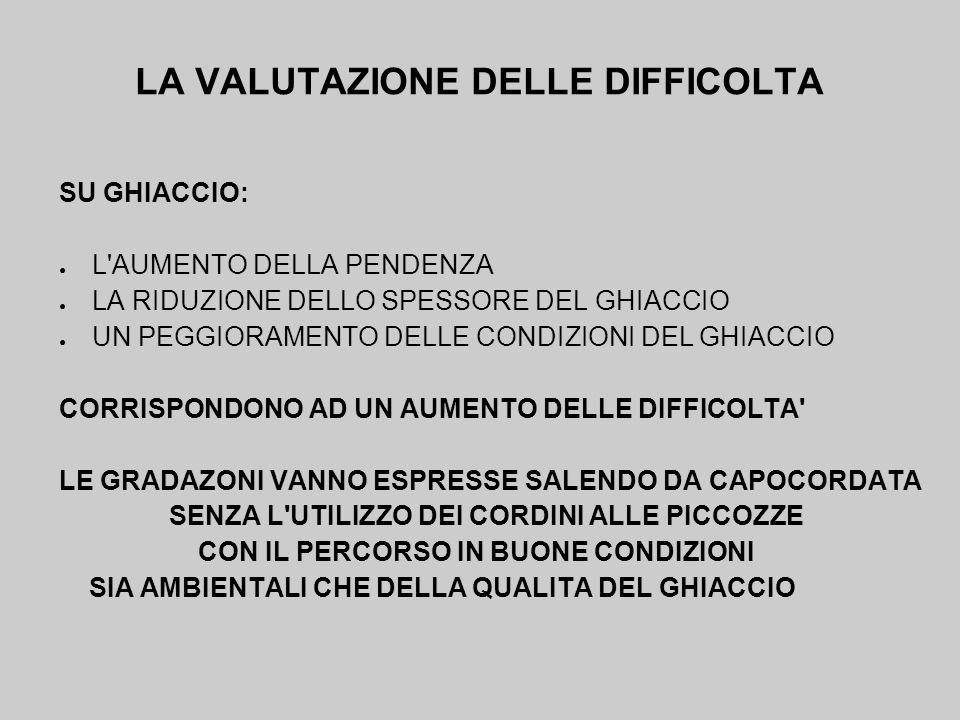 LA VALUTAZIONE DELLE DIFFICOLTA