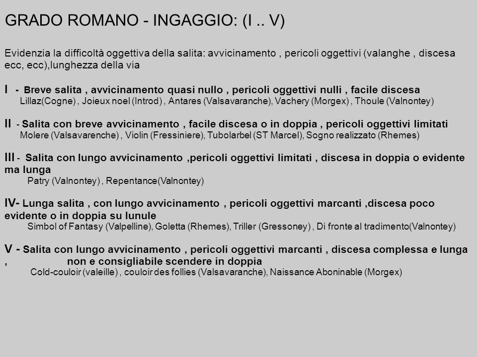 GRADO ROMANO - INGAGGIO: (I .. V)