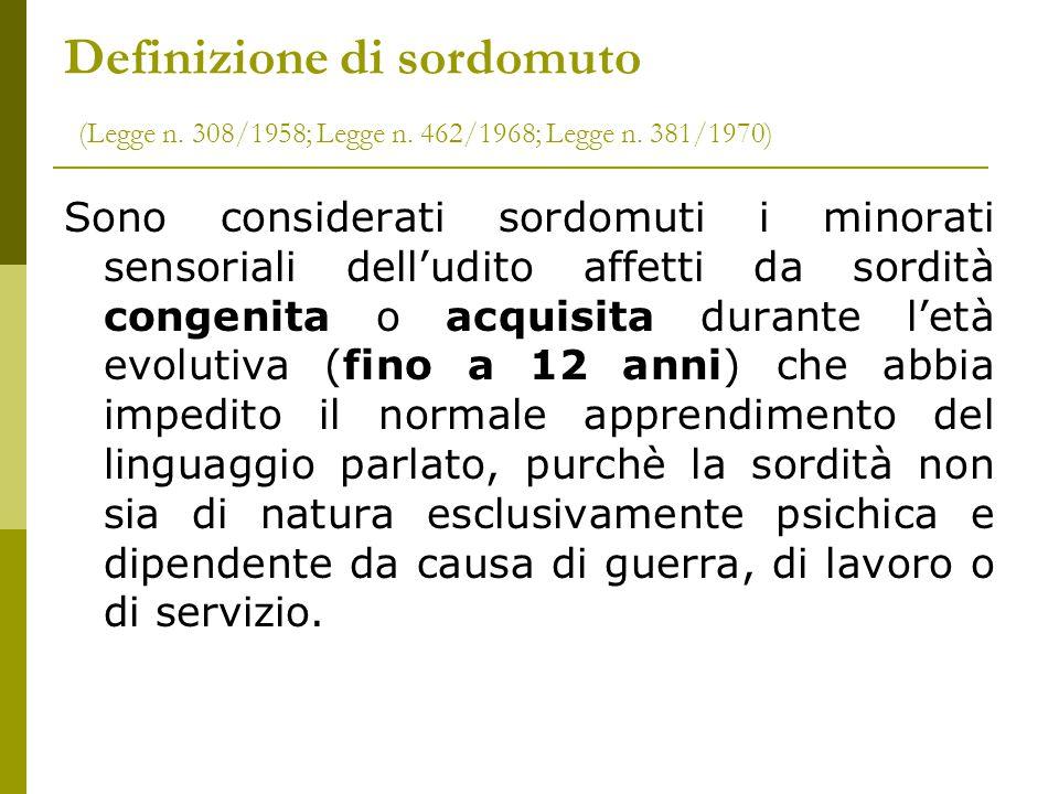 Definizione di sordomuto (Legge n. 308/1958; Legge n. 462/1968; Legge n. 381/1970)