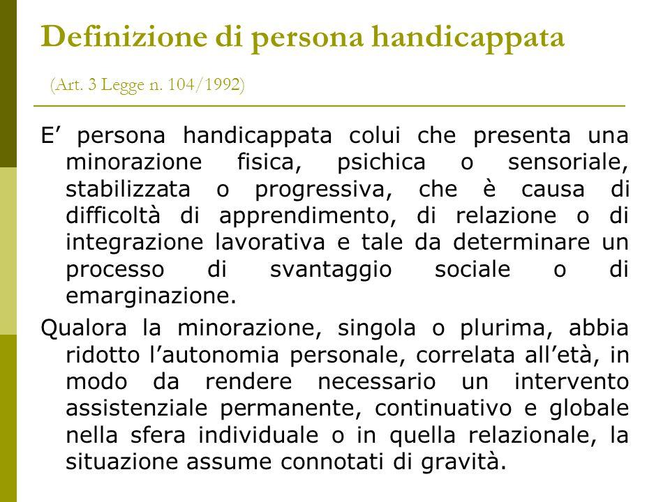 Definizione di persona handicappata (Art. 3 Legge n. 104/1992)