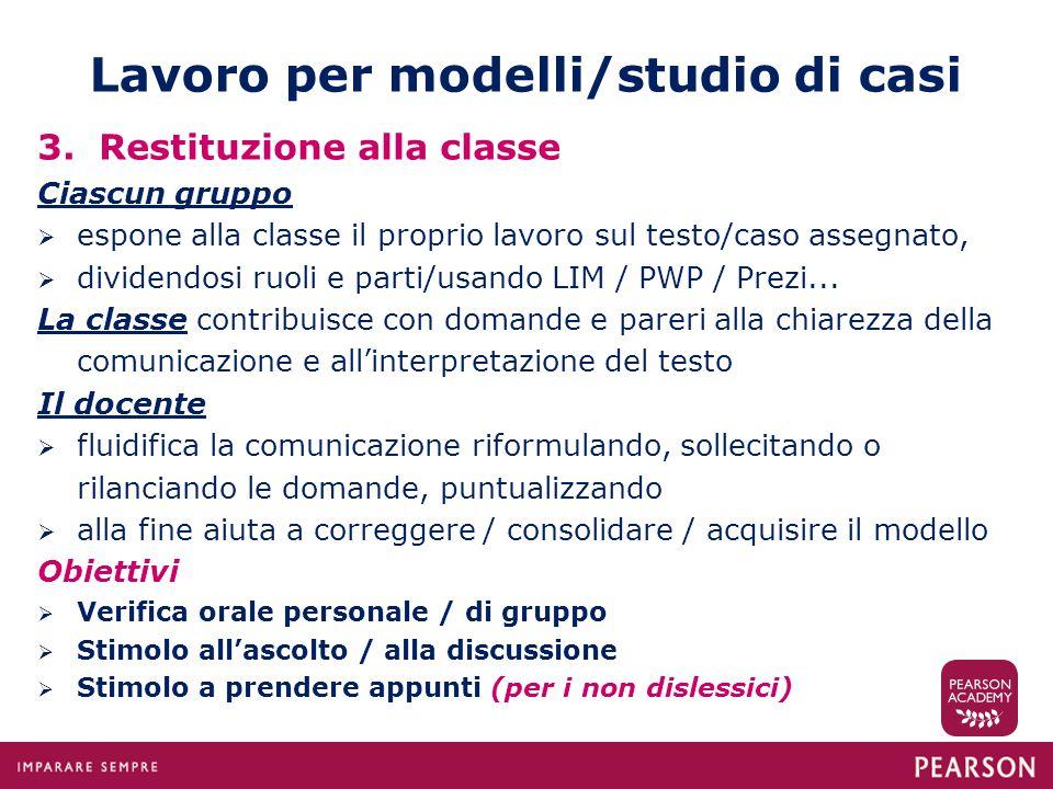 Lavoro per modelli/studio di casi